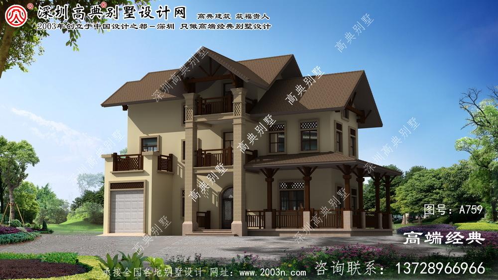 墉桥区农村住宅三层别墅设计