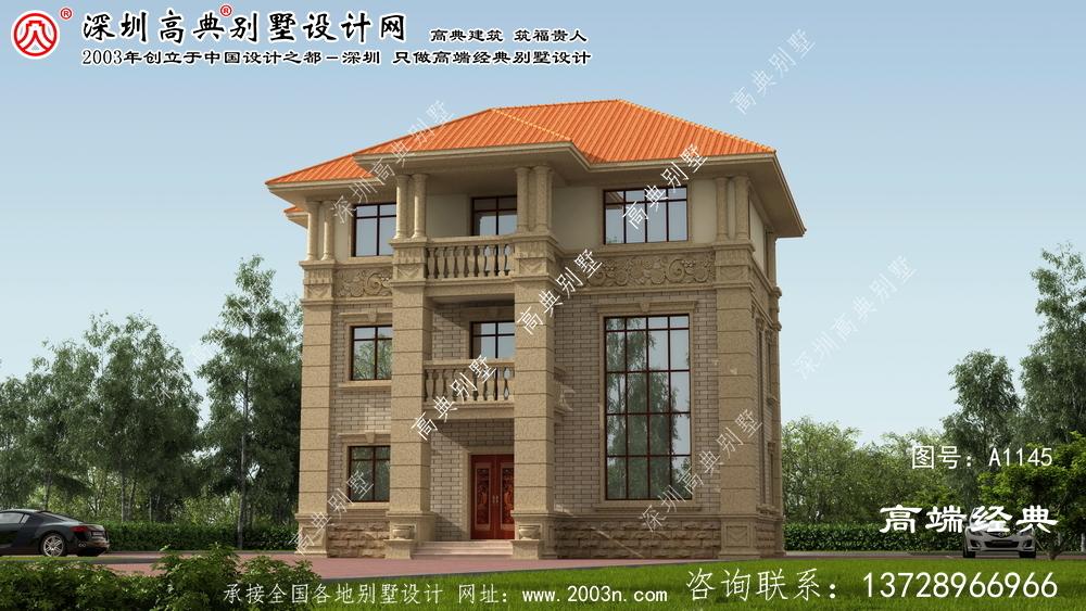 田阳县乡村复式三层高档欧式别墅效果图。