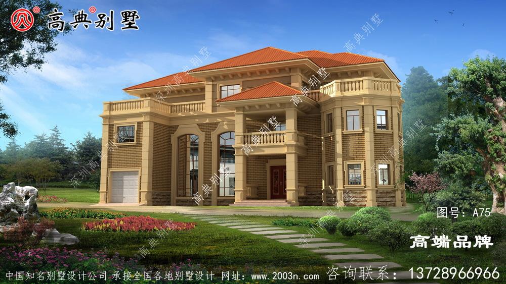 农村别墅设计图外观典雅精美,占地方正大气