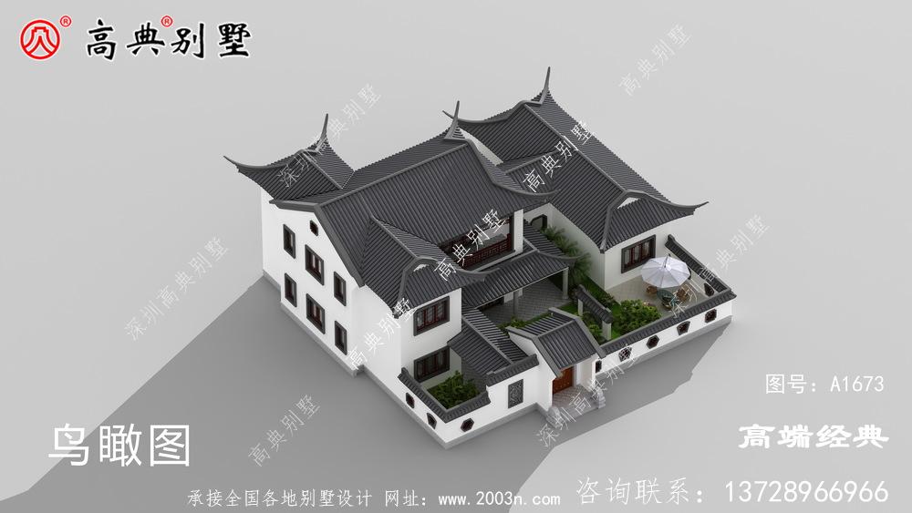 余杭市中式庭院别墅外观效果图大全,建一栋这样的房子才叫有品位
