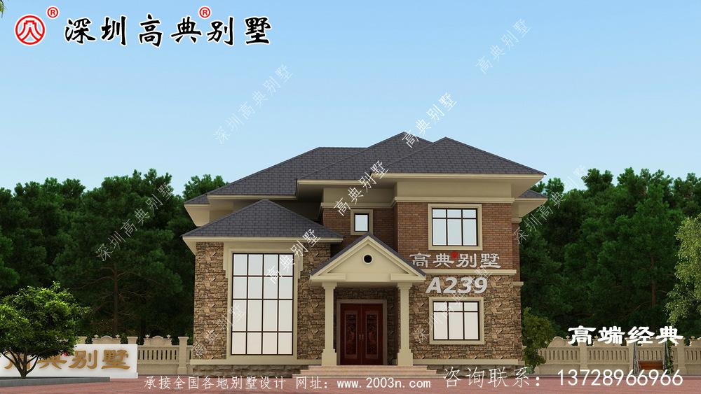 乡村 自建 二层 住宅 的户型图 ,外观设计 很漂亮 。