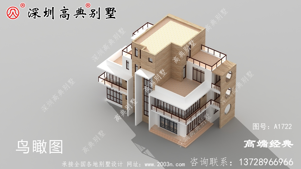 四层现代别墅设计图,倍有设计感,外观简约时尚大气