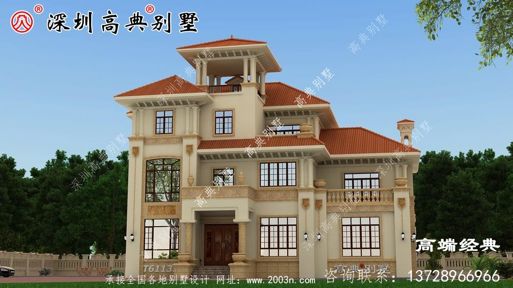50万三层欧式住宅设计图,外观优雅别致,浪漫的造型在家乡别具一格。