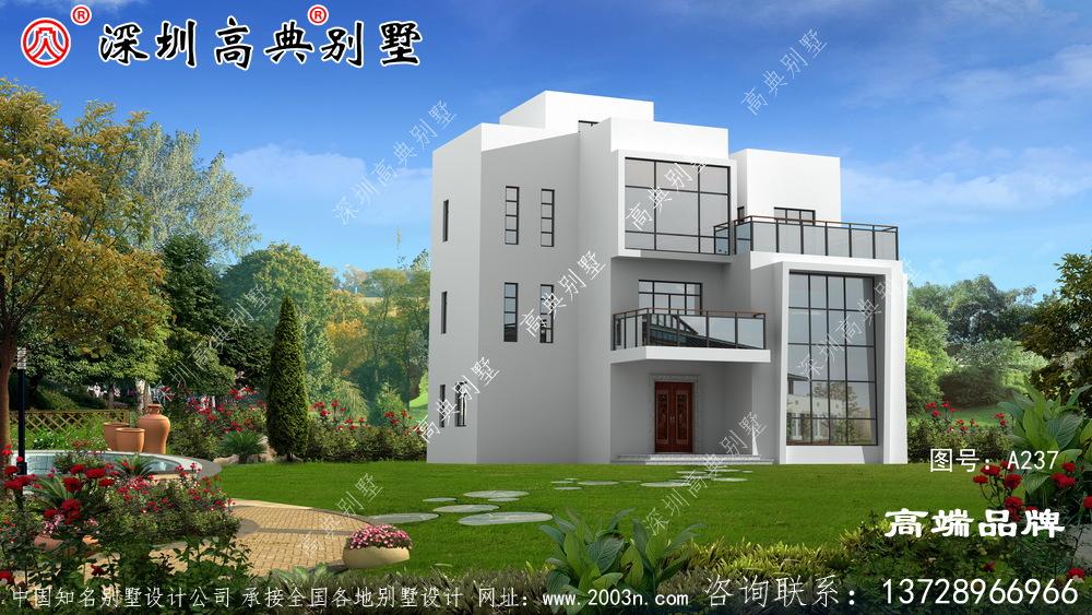 农村三层别墅设计图,外观俊俏,非常适合农村!