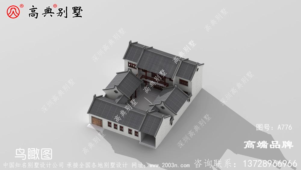 简洁大方的中式庭院别墅,保证在村里别具一格