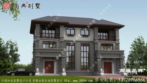 中式双拼别墅外观简单