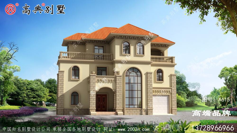 坡屋顶农村别墅大落地窗设计简单大气